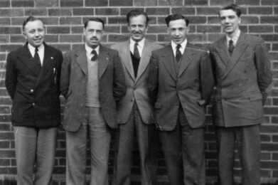 Rev Bernard Jones with 4 students from Hartley Victoria College in the early 1950′s. Bill Davies is the one on the right